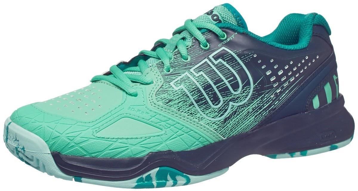 Теннисные кроссовки женские Wilson Kaos Comp electric green/reflecting pond/aruba blue