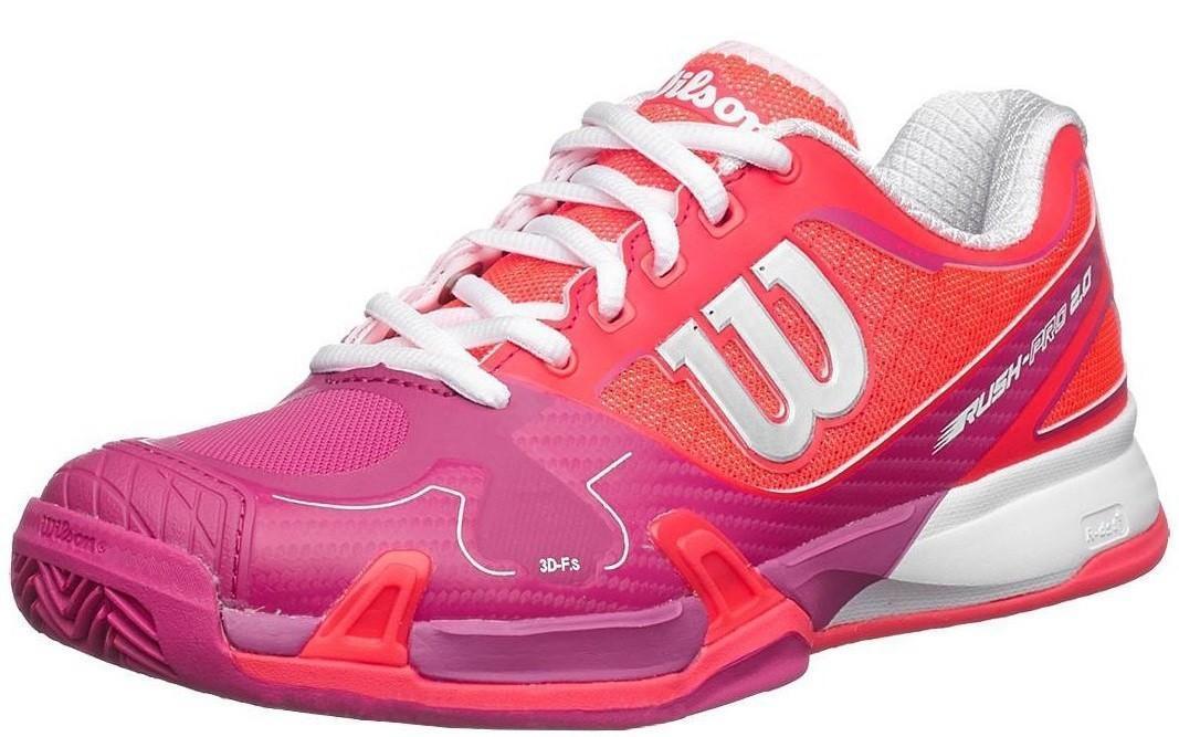 Теннисные кроссовки женские Wilson Rush Pro 2.0 ГРУНТ neon red/fiesta pink/white