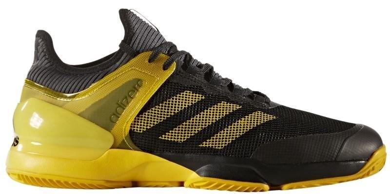 Теннисные кроссовки мужские Adidas Adizero Ubersonic 2 ГРУНТ core black/eqt yellow/grey five