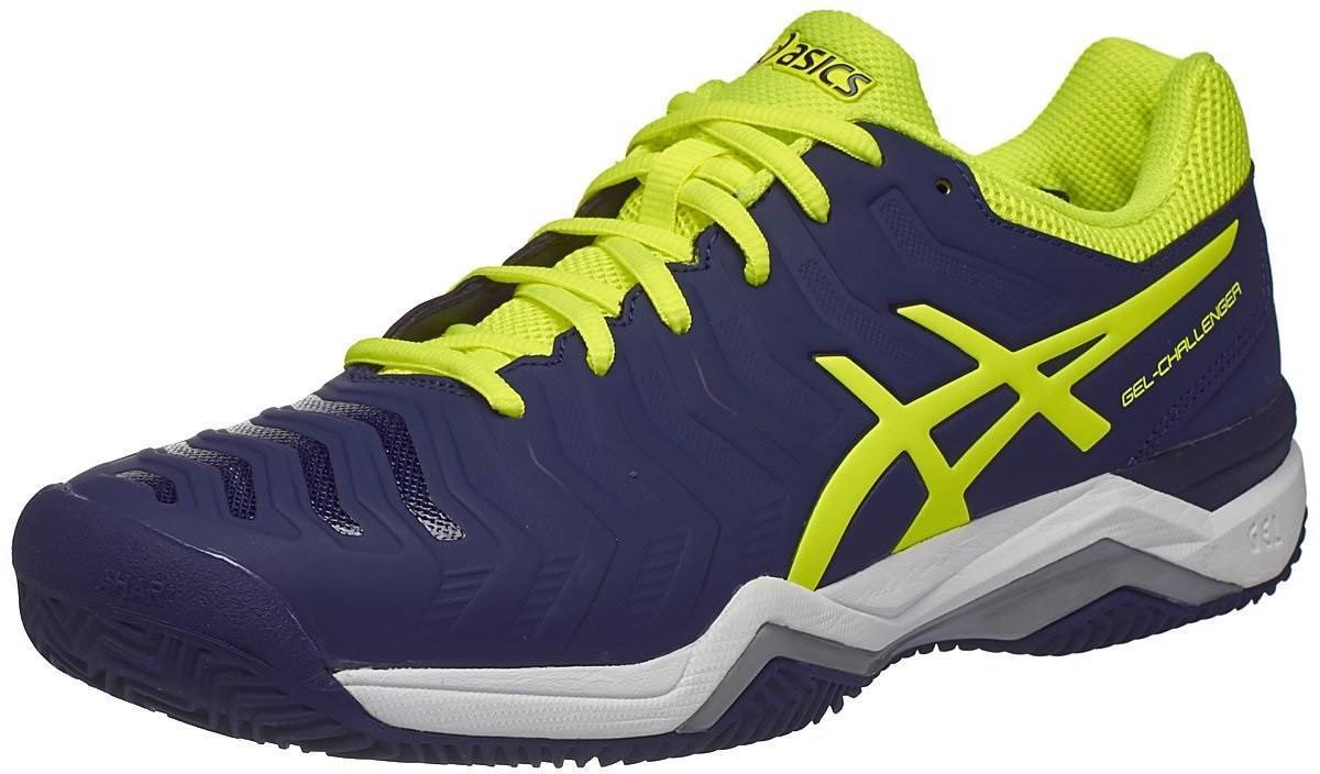 Теннисные кроссовки мужские Asics Gel-Challenger 11 ГРУНТ indigo blue/safety yellow/silver
