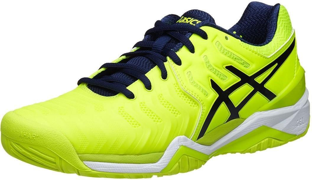 Теннисные кроссовки мужские Asics Gel-Resolution 7 ГРУНТ safety yellow/indigo blue/white