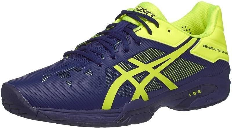 Теннисные кроссовки мужские Asics Gel-Solution Speed 3 indigo blue/safety yellow