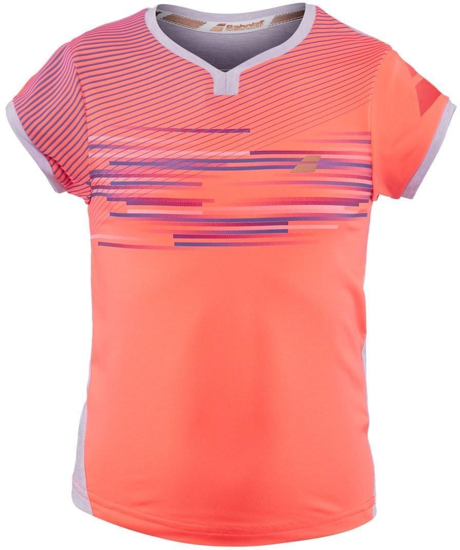 Теннисная футболка детская Babolat Performance Cap Sleeves Top Girl fluo strike