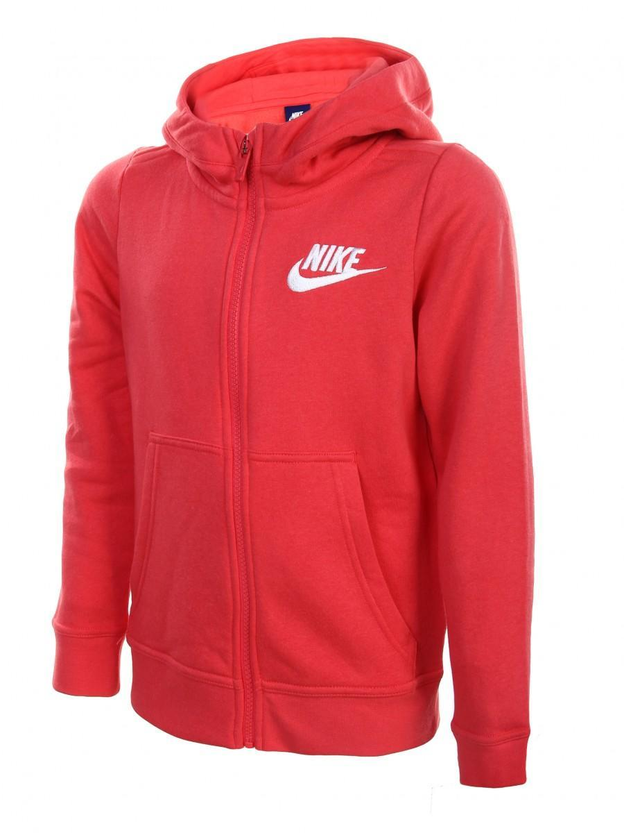 Кофта детская Nike Girl's HOODIE FZ CLUB GFX Light Fusion Red/Sail
