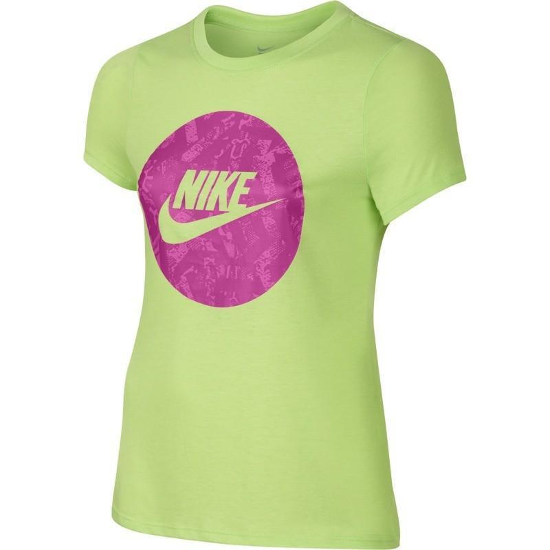 Теннисная футболка детская Nike Girl's Cat Seasonal Futura Tee key lime