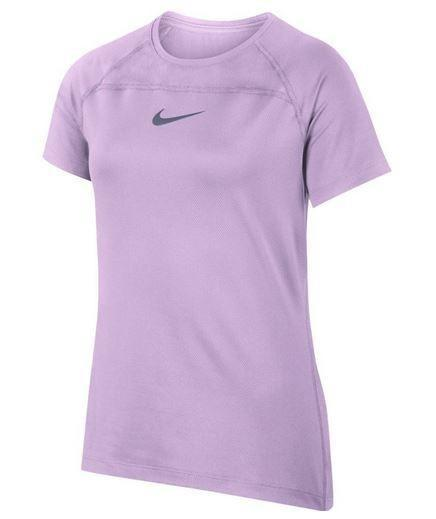 Теннисная футболка детская Nike Girls NK TOP SS YTH Violet Mist/Black