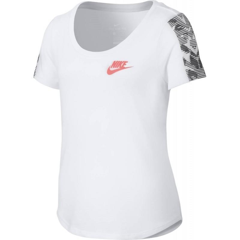 Теннисная футболка детская Nike Girls NSW TEE TRI SCP TIGRESS BLK YTH White