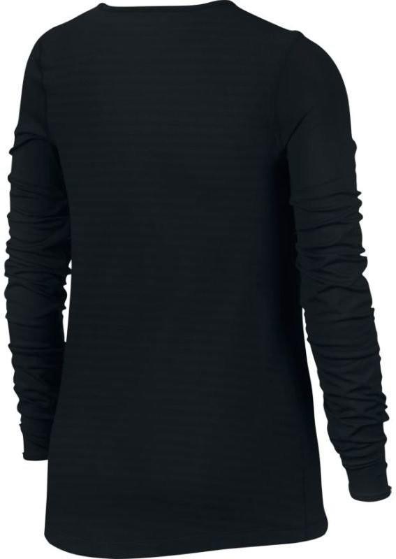 Теннисная футболка детская Nike Girls Pro Warm Top black/black/white