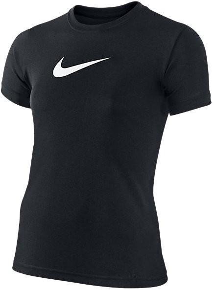 Теннисная футболка детская Nike Legend SS Top YTH  black/black/white