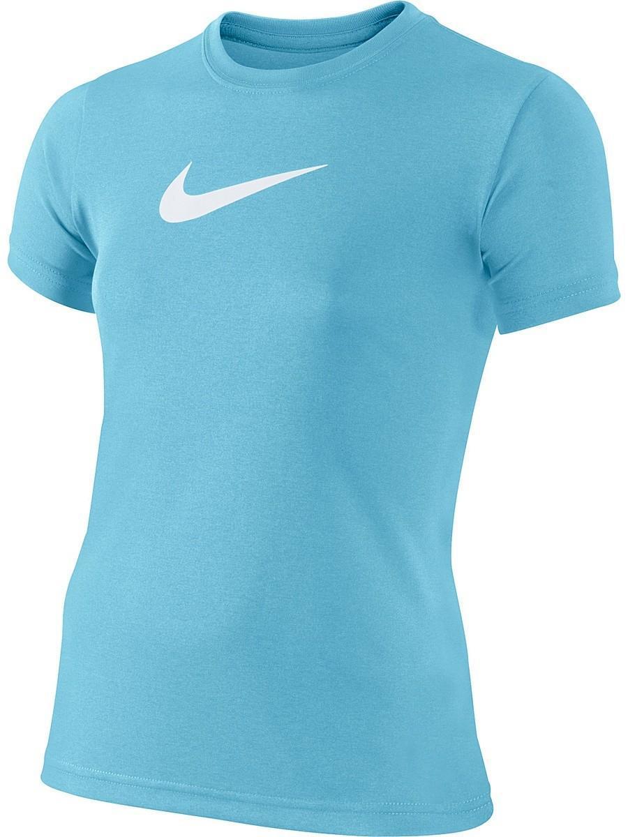 Теннисная футболка детская Nike Legend SS Top YTH Light Blue Fury/White