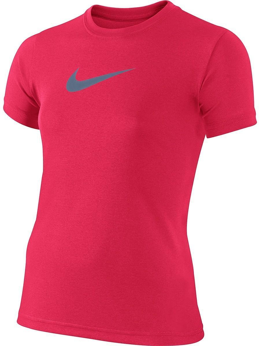 Теннисная футболка детская Nike Legend SS Top YTH racer pink/dark sky blue