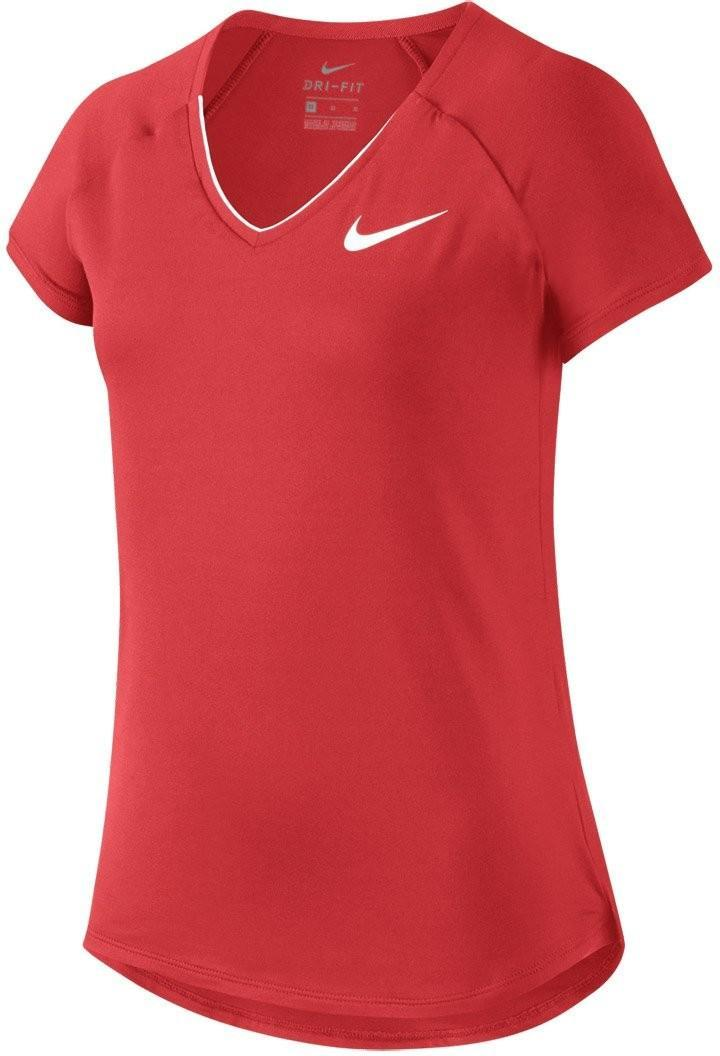 Теннисная футболка детская Nike Pure Top Girl's action red/white