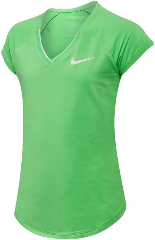 Теннисная футболка детская Nike Pure Top Girl's electro green/white
