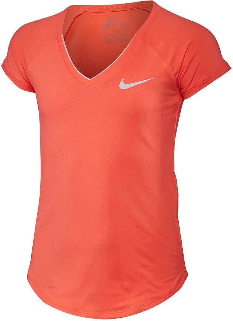 Теннисная футболка детская Nike Pure Top Girl's hyper orange/white