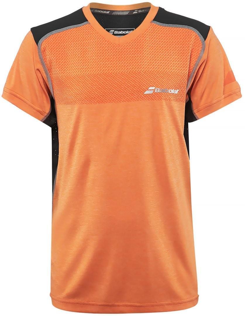Теннисная футболка детская Babolat Performance V Neck Tee Boy celosia orange