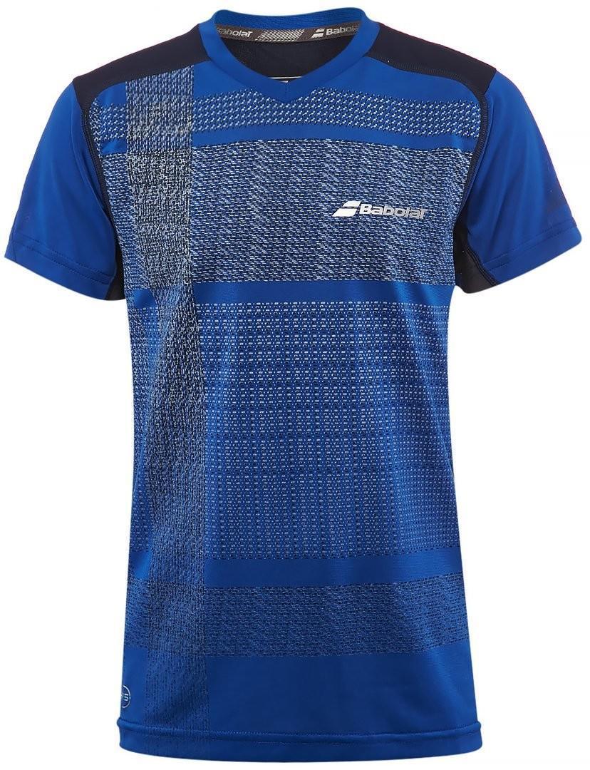 Теннисная футболка детская Babolat Performance V Neck Tee Boy cobalt
