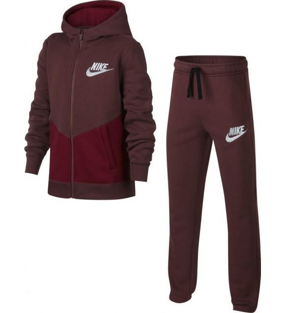 Спортивный костюм детский Nike Boy's NSW Cotton Warm-Up Suit Bordeaux/White