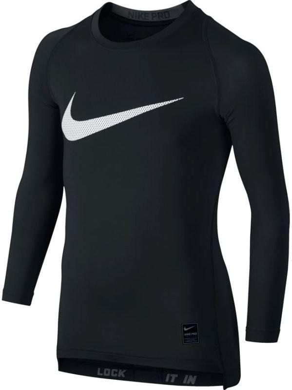 Теннисная футболка детская Nike Boys Pro Compression Top black/anthracite/black термо