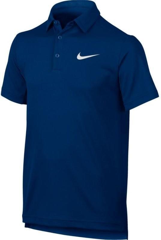 Теннисная футболка детская Nike Dry Polo YTH blue jay/white поло
