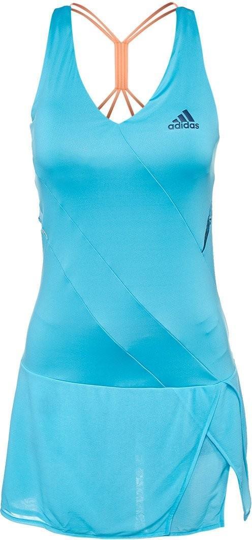 Теннисное платье женское Adidas Melbourne Line Dress samba blue/mystery blue