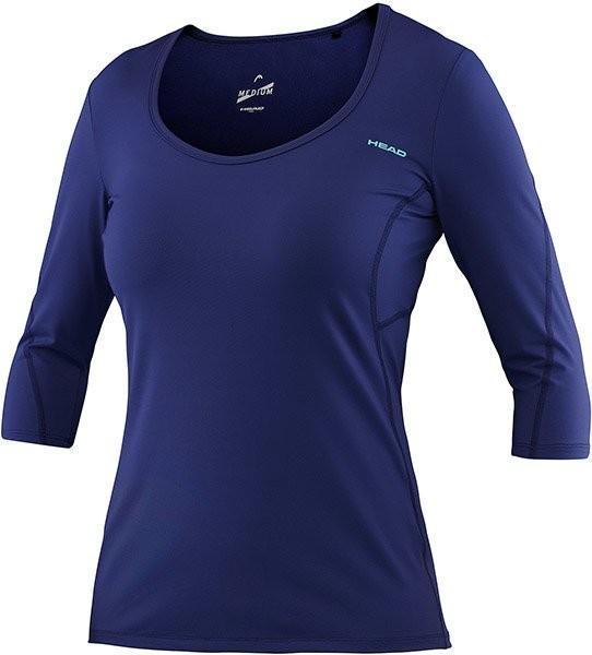 Теннисная футболка женская Head Performance W Round Neck 3/4 Sleeve navy