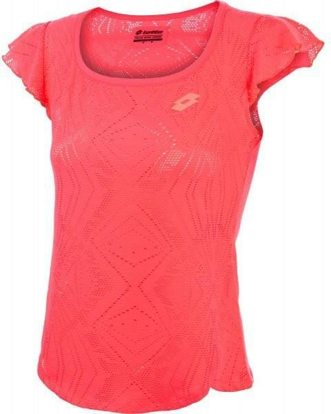 Теннисная майка женская Lotto Lacy Tee pink fluo