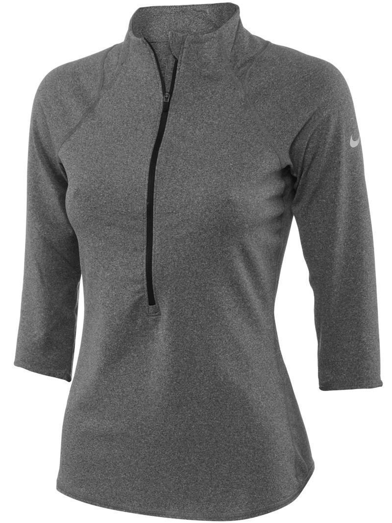 Теннисная футболка женская Nike Baseline 1/2 Zip Top grey heather/matte silver