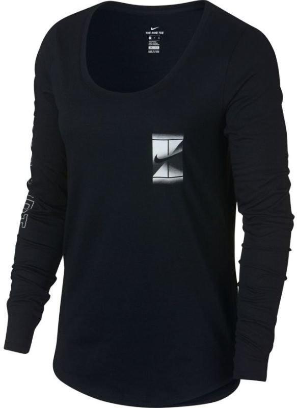Теннисная футболка женская Nike Court Dry LS Tee black/white