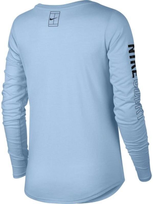 Теннисная футболка женская Nike Court Dry LS Tee hydrogen blue/wolf grey