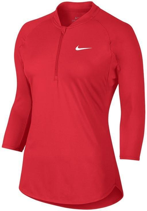 Теннисная футболка женская Nike Court Dry Pure Top action red/white