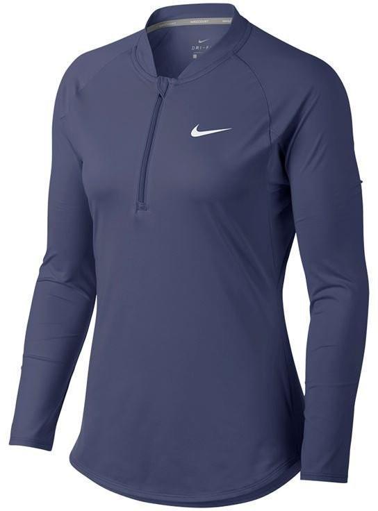 Теннисная футболка женская Nike Court Pure LS HZ Top blue recall/white