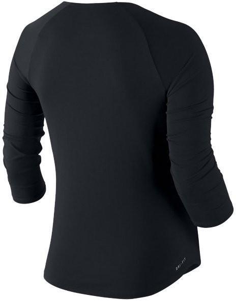 Теннисная футболка женская Nike Court Pure Top 3-4 black/white/white