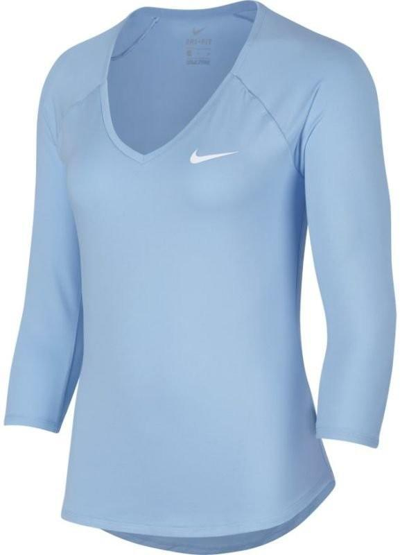 Теннисная футболка женская Nike Court Pure Top 3-4 hydrogen blue/white