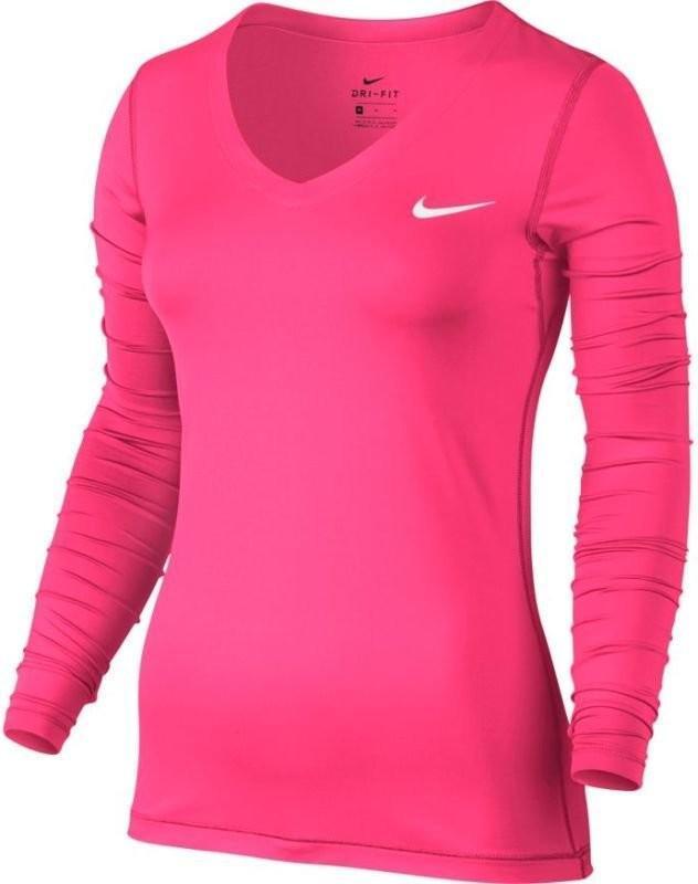 Теннисная футболка женская Nike Top Victory Long Sleeve racer pink/white
