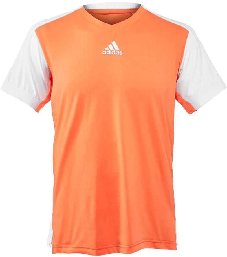 Теннисная футболка мужская adidas Melbourne Line Tee glow orange/white