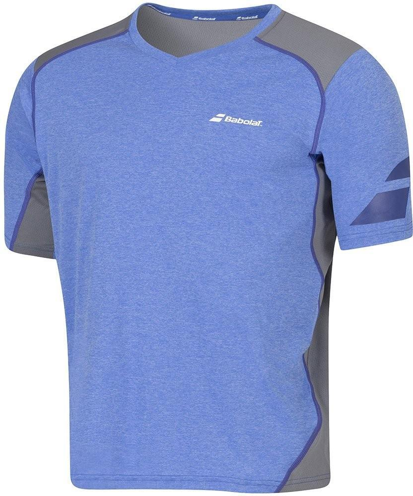 Теннисная футболка мужская Babolat T-Shirt V-neck Performance Men dazzing blue