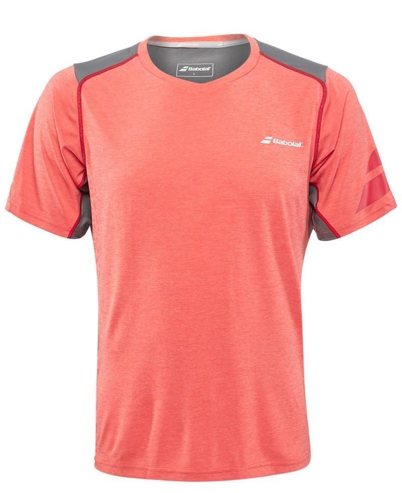 Теннисная футболка мужская Babolat T-Shirt V-neck Performance Men tomato