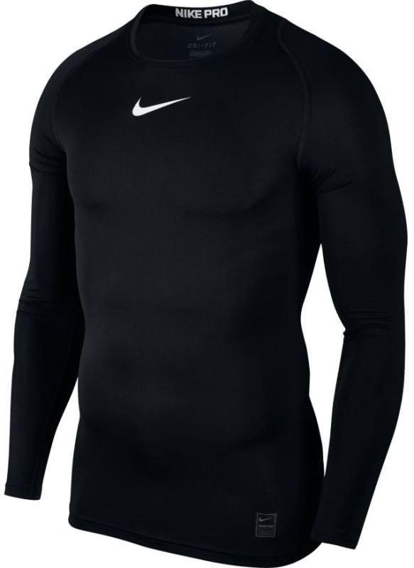 Теннисная футболка мужская Nike Pro LS Comp Top black/white термофутболка