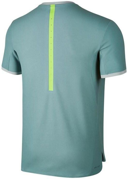 Теннисная футболка мужская Nike RF Dry V-Neck Top cannon/electric green/light silver/black