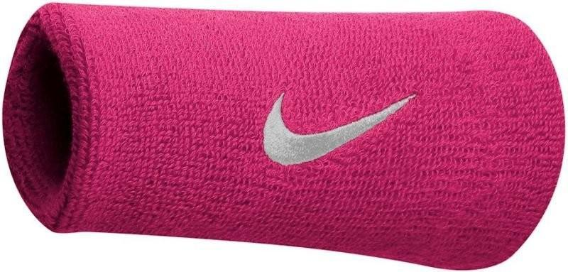 Напульсник Nike Swoosh Double-Wide Wristbands vivid pink/white
