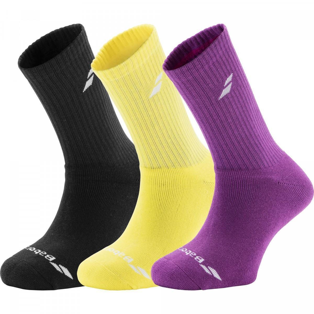 Babolat 3 Pairs Pack Socks aero yellow