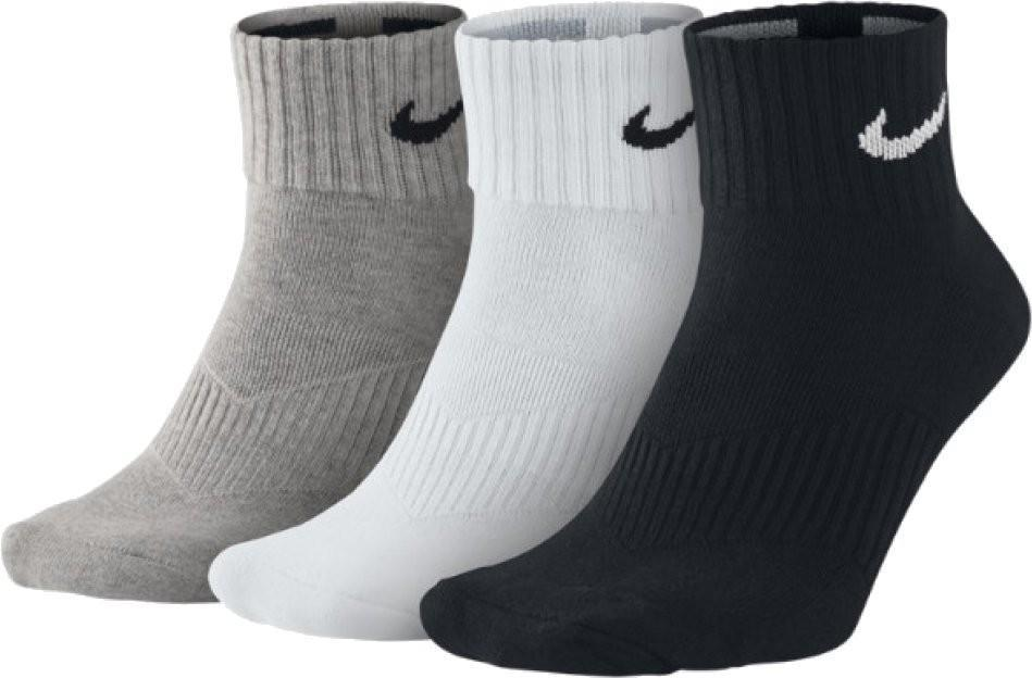 Nike Performance Cotton Cushioned Quarter 3-pack/grey heather/white/black