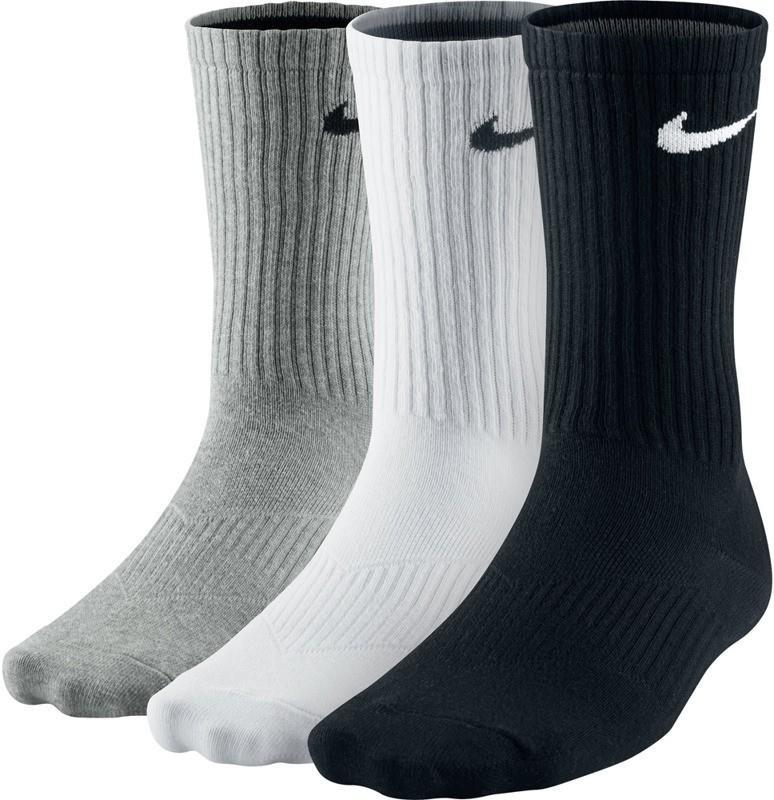 Nike Performance Cotton Lightweight Crew Socks 3-pack/black/white/grey