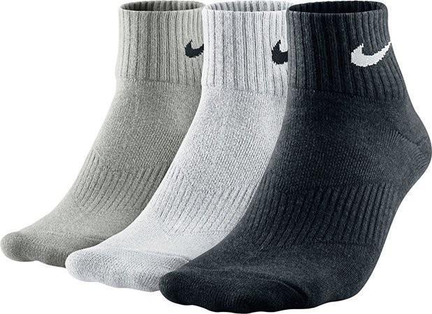 Nike Performance Cotton Lightweight Quarter 3-pack/grey heather/white/black