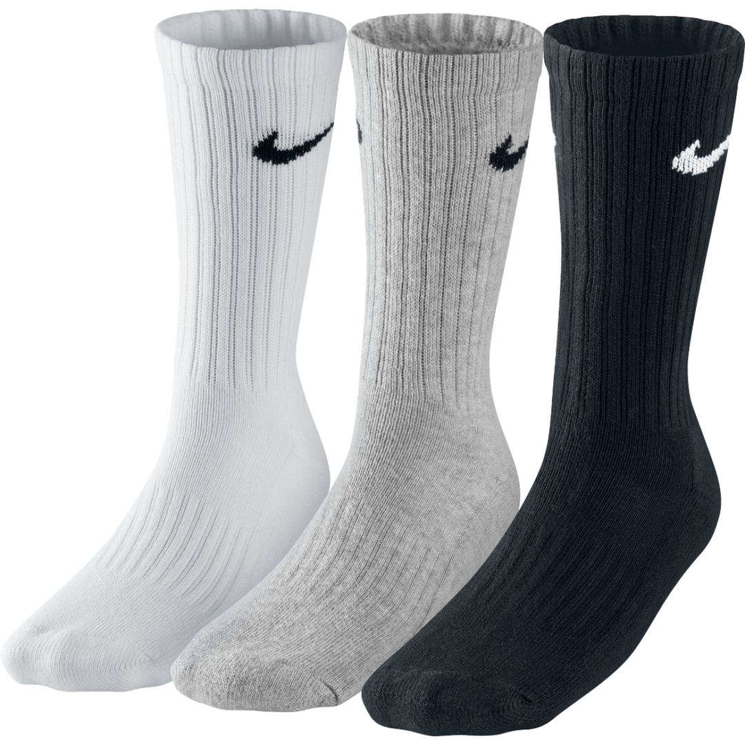 Nike Value Cotton Cushioned Crew 3-pack/black/white/grey