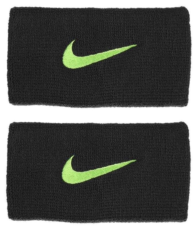 Напульсник Nike Swoosh Double-Wide Wristbands black/volt