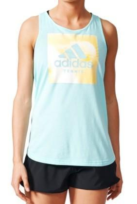 Теннисная майка женская Adidas Graphic Tennis Tank energy aqua/bright yellow