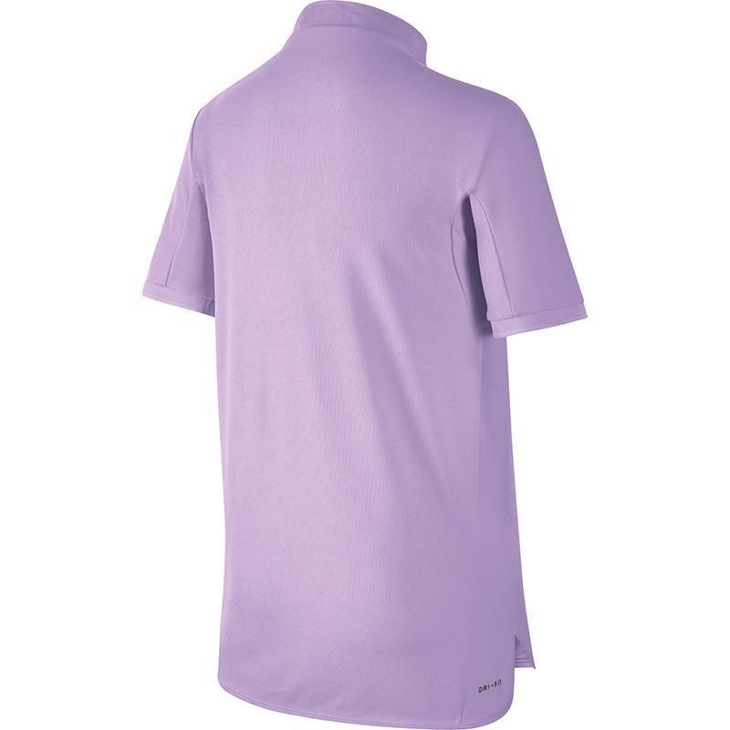 Теннисная футболка детская Nike Adv Polo SS YTH violet mist/black поло