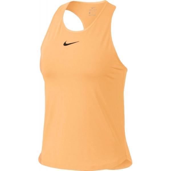 Теннисная майка женская Nike Court Dry Slam Tank tangerine tint/black