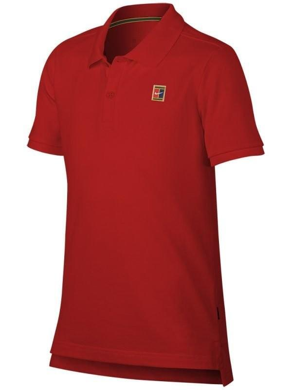 Теннисная футболка детская Nike Court Heritage Polo gym red/white поло